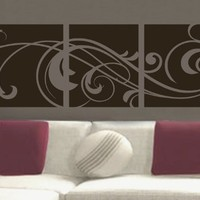 """Windy Scroll Paneling vinyl wall lettering words sticky art home decor quotes stickers decals, 16""""x45"""", Toffee Brown Matte"""