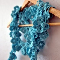 Lucky Shamrock Scarf in tiffany blue | ayca - Crochet on ArtFire