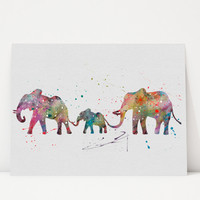 Family of elephants illustration watercolor, Art Print, Watercolor Print, poster