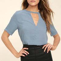 Sweetest Gift Light Blue Cutout Top