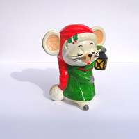 Christmas Mouse Figurine Vintage Holiday Decor