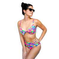 Vintage Swimsuit -- Retro Swim -- Vintage 70s Bright & Colorful Bikini Swimsuit -- Vintage Bathing Suit -- Summer Fashion
