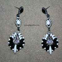 Fancy Black and White Statement Earrings