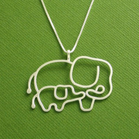 Elephant Necklace Mother and Baby Sterling Silver by Dragonfly65