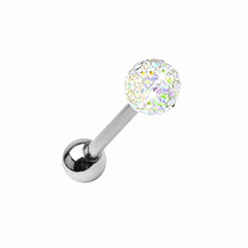 1PC Women Surgical Stainless Steel Czech Crystal Ball Barbell Bar Tongue Ring Body Piercing Studs Tragus Pin