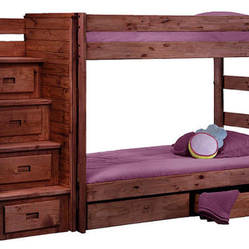 Arlington Extra Long Twin over Twin Stairway Bunk Bed