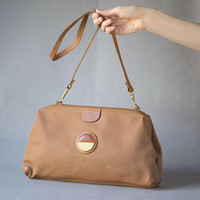 Frame handbag faux canvas leather purse vintage. Brown shoulder bag Barbara made in Italy. Handbag turn into clutch nylon material leather