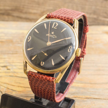 Vintage Aretta mens watch, gold plated vintage swiss watch with black dial