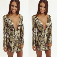 Deep V Sequin Dress - Gold @ LushFox.com :: Current Fashion Trends & Styles