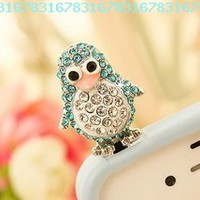 Smile Decor, Penguin (Blue), Crystal Pendant, Earphone Jack Accessory, Dust Plug, Ear Hole Cap, Ear Jack For Samsung, iPhone, Cell Phone, iPad, iPod Touch, Gift Idea