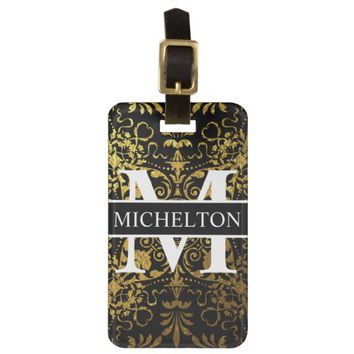 Black GL Victorial Floral Personalized Bag Tag