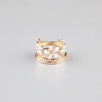 Full Tilt 3 Piece Flower Rings Gold One Size For Women 24287962101