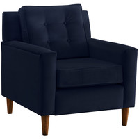 Winston Velvet Accent Chair, Navy, Club Chairs
