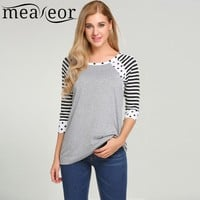 Meaneor Women Fashion O-Neck 3/4 Sleeve Dot Striped T-Shirt Pullover 2018 Spring New Hot Casual Ladies Femme T Shirt Tops Tee