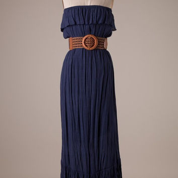 Navy Strapless Maxi with a Brown Belt