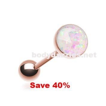 Rose Gold Opal Sparkle Barbell Tongue Ring  14ga Surgical Steel Black Friday Cyber Monday