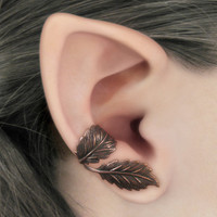 Dark Forest Right Ear Cuff - Copper Leaves Filigree