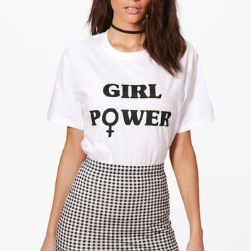 Rosie Girl Power Slogan T-Shirt | Boohoo