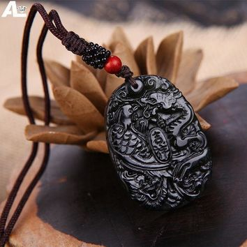 ESBONHS Natural Jade Jewelry Magnetic Health Pendant Dark green Jade Dragon and Phoenix Couple Natural Jade Pendent Necklace Gift