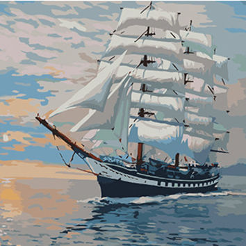 Framless Wall Art Pictures Painting By Numbers Hand Painted On Canvas Abstract Oil Painting Sail Boat Home Decor 40*50cm G423