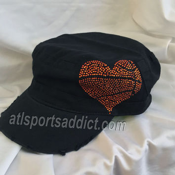 Black Basketball Heart Rhinestone Hat