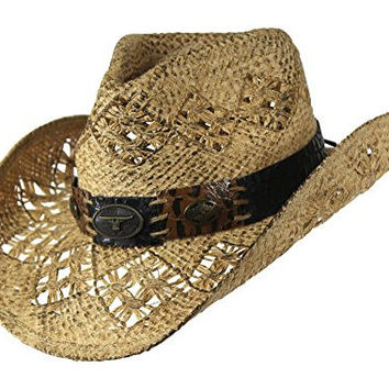 Tea Stained Straw Cowboy Hat with Faux Leather Patch Band, Western Style