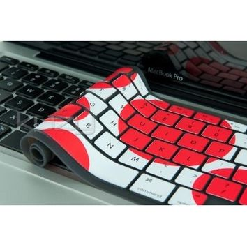 """Kuzy - Circles RED Keyboard Cover Silicone Skin for MacBook Pro 13"""" 15"""" 17"""" (with or w/out Retina Display) iMac and MacBook Air 13"""" - Red/White"""