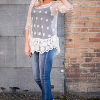 See Me Crochet Ivory Lace Ruffle Top
