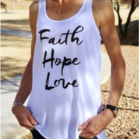 White Letter Print Sleeveless Tank Top