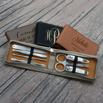 Personalized Bridesmaid Manicure Kit Engraved with Choice of Bridal Monogram Design & Font from Our Selection (Each - Seven Piece Set)