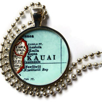 Kauai Jewelry, Hawaii map necklace, Hawaiian Jewelry, photo pendant