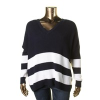 Lauren Ralph Lauren Womens Knit Striped Pullover Sweater