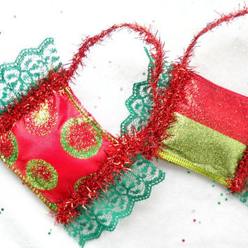 Glitter Ribbon Christmas Ornaments Set of 4 Red Gold and Green Puffy Bowl Fillers Holiday Knob Hangers