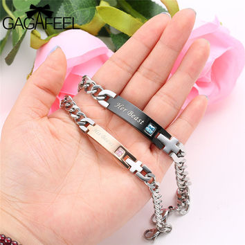 Stainless Steel Couple Bracelet  Her Beast/His Beauty