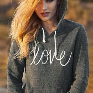 Dark Grey Love Monogram Print Drawstring Pockets Hooded Long Sleeve Casual Pullover Sweatshirt