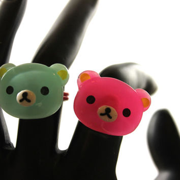 Rilakkuma Bear Ring Pink or Aqua Fairy Kei / Decora Accessory
