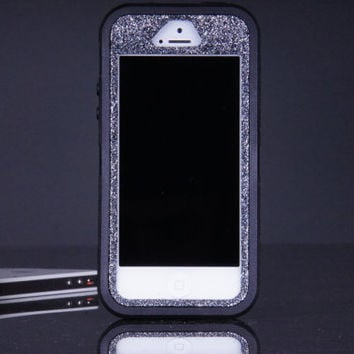iPhone 5 / 5S Otterbox Defender Case - Black/Smoke Glitter iPhone 5 / 5S Case - Sparkly Glitter Bling iPhone 5 / 5s Cover