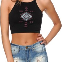 Empyre Mele Placed Tribal Crop Tank Top