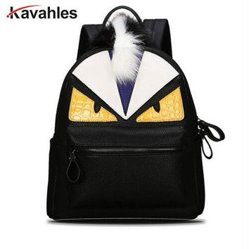 2018 personality fashion backpacks men travel women school bags for teenagers mochila escolar Monster leather backpack F40-643