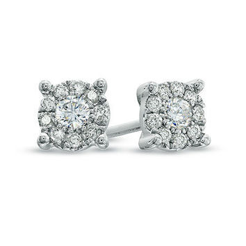 1/4 CT. T.W. Diamond Frame Stud Earrings in 14K White Gold - Brilliant Buys - Zales
