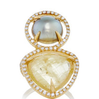 MO Exclusive: One of a Kind 18K Gold Beryl and Pearl Slice Ring