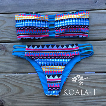 Reversible Strap Back Tribal Print Blue Bandeau by KoalaTFashion