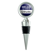 Steven Hello My Name Is Wine Bottle Stopper
