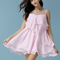 Pink Sleeveless Sheer Mesh Neckline Ruffle Chiffon Dress