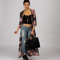 Black Winter Bloom Trench Kimono