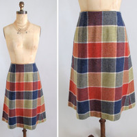 Vintage 1960s Skirt Wool Plaid Midi Skirt by RaleighVintage