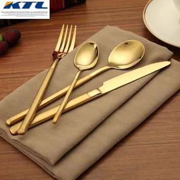 KuBac 24Pcs Golden Dinnerware Set Stainless Steel Cutlery Dinner Knife Fork Scoops Teaspoon Gold Cutlery Set For Party