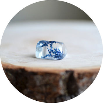 Floral ring, blue ring, nature jewelry, resin jewelry, gift under 40