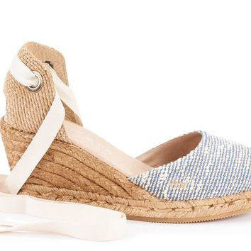 Sagaro Canvas Wedges - Tweed Blue