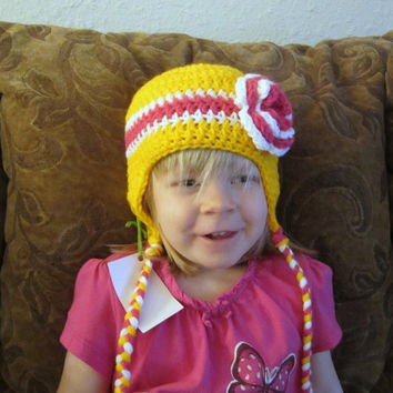Earflap Hat - Yellow with Pink and White Flower - 12M-3Y